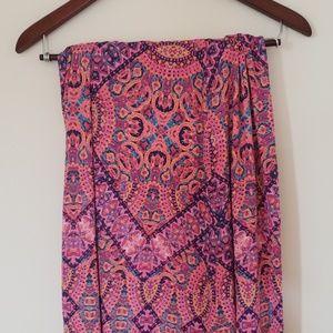 Boho pink print maxi skirt